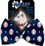 Baseball Pinstripes Pet Bow Tie Collar Accessory with Velcro