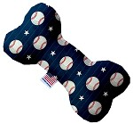 Baseball Pinstripes 6 inch Stuffing Free Bone Dog Toy
