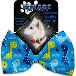 Blue Dinosaurs Pet Bow Tie Collar Accessory with Velcro