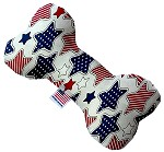 Patriotic Stars 10 inch Stuffing Free Bone Dog Toy
