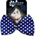 Bright Blue Swiss Dots Pet Bow Tie Collar Accessory with Velcro