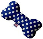 Bright Blue Swiss Dots 6 Inch Bone Dog Toy