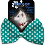 Seafoam Green Swiss Dots Pet Bow Tie Collar Accessory with Velcro