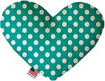 Seafoam Green Swiss Dots 6 inch Stuffing Free Heart Dog Toy