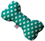 Seafoam Green Swiss Dots 10 inch Stuffing Free Bone Dog Toy