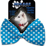 Aqua Blue Swiss Dots Pet Bow Tie Collar Accessory with Velcro