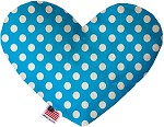 Aqua Blue Swiss Dots 8 inch Stuffing Free Heart Dog Toy