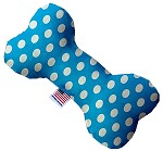 Aqua Blue Swiss Dots 10 inch Stuffing Free Bone Dog Toy