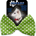Lime Green Swiss Dots Pet Bow Tie Collar Accessory with Velcro