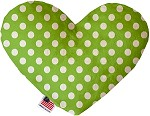 Lime Green Swiss Dots 8 inch Stuffing Free Heart Dog Toy