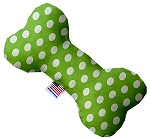 Lime Green Swiss Dots 6 Inch Canvas Bone Dog Toy