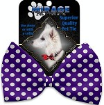 Royal Purple Swiss Dots Pet Bow Tie Collar Accessory with Velcro