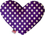 Royal Purple Swiss Dots 6 inch Stuffing Free Heart Dog Toy