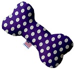 Royal Purple Swiss Dots 8 inch Stuffing Free Bone Dog Toy