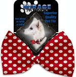 Red Swiss Dots Pet Bow Tie Collar Accessory with Velcro