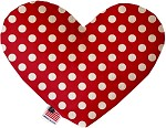 Red Swiss Dots 6 inch Stuffing Free Heart Dog Toy