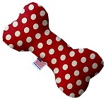 Red Swiss Dots 8 inch Stuffing Free Bone Dog Toy