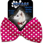 Hot Pink Swiss Dots Pet Bow Tie Collar Accessory with Velcro