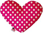Hot Pink Swiss Dots 8 inch Stuffing Free Heart Dog Toy
