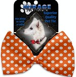 Melon Orange Swiss Dots Pet Bow Tie Collar Accessory with Velcro