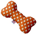 Melon Orange Swiss Dots 6 Inch Bone Dog Toy
