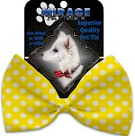 Sunny Yellow Swiss Dots Pet Bow Tie Collar Accessory with Velcro