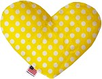 Sunny Yellow Swiss Dots 8 inch Stuffing Free Heart Dog Toy