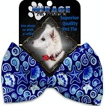 Blue Seashells Pet Bow Tie Collar Accessory with Velcro