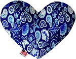 Blue Seashells 6 inch Stuffing Free Heart Dog Toy