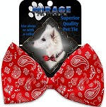 Red Western Pet Bow Tie Collar Accessory with Velcro