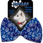 Blue Western Pet Bow Tie Collar Accessory with Velcro
