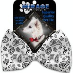 White Western Pet Bow Tie Collar Accessory with Velcro