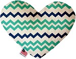 Aquatic Chevron 8 inch Stuffing Free Heart Dog Toy