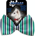 Aquatic Stripes Pet Bow Tie Collar Accessory with Velcro