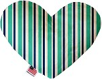 Aquatic Stripes 8 inch Stuffing Free Heart Dog Toy