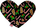 Candy Cane Chaos 8 inch Stuffing Free Heart Dog Toy