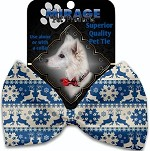 Blue Reindeer Pet Bow Tie Collar Accessory with Velcro