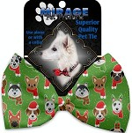 Christmas Dogs Pet Bow Tie Collar Accessory with Velcro