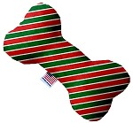 Christmas Stripes 10 inch Stuffing Free Bone Dog Toy