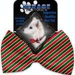 Christmas Stripes Pet Bow Tie Collar Accessory with Velcro