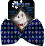 Star of Davids and Snowflakes Pet Bow Tie Collar Accessory with Velcro