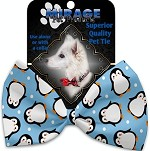 Penguins in Blue Pet Bow Tie Collar Accessory with Velcro