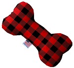 Red Buffalo Check 6 inch Stuffing Free Bone Dog Toy