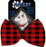 Red Buffalo Check Pet Bow Tie Collar Accessory with Velcro