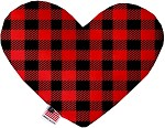 Red Buffalo Check 6 inch Stuffing Free Heart Dog Toy