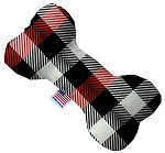 Red and White Buffalo Check 6 Inch Bone Dog Toy