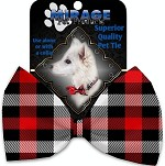 Red and White Buffalo Check Pet Bow Tie Collar Accessory with Velcro