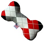 Red and Grey Argyle 10 inch Stuffing Free Bone Dog Toy