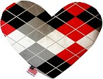 Red and Grey Argyle 8 inch Stuffing Free Heart Dog Toy