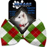 Christmas Argyle Pet Bow Tie Collar Accessory with Velcro